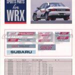 Impreza Sports parts brochure