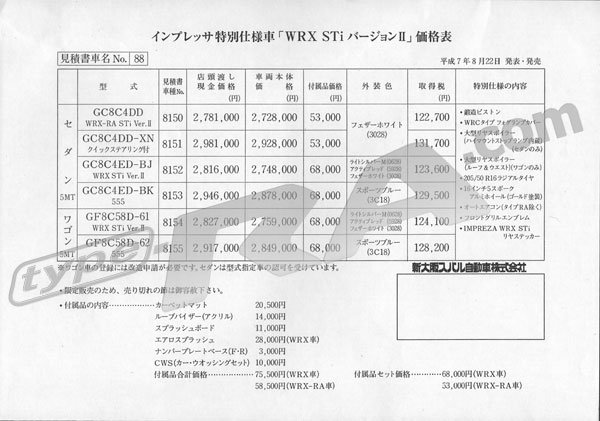 Impreza Sti V2 Option Sheet Amp Price List Subaru Impreza